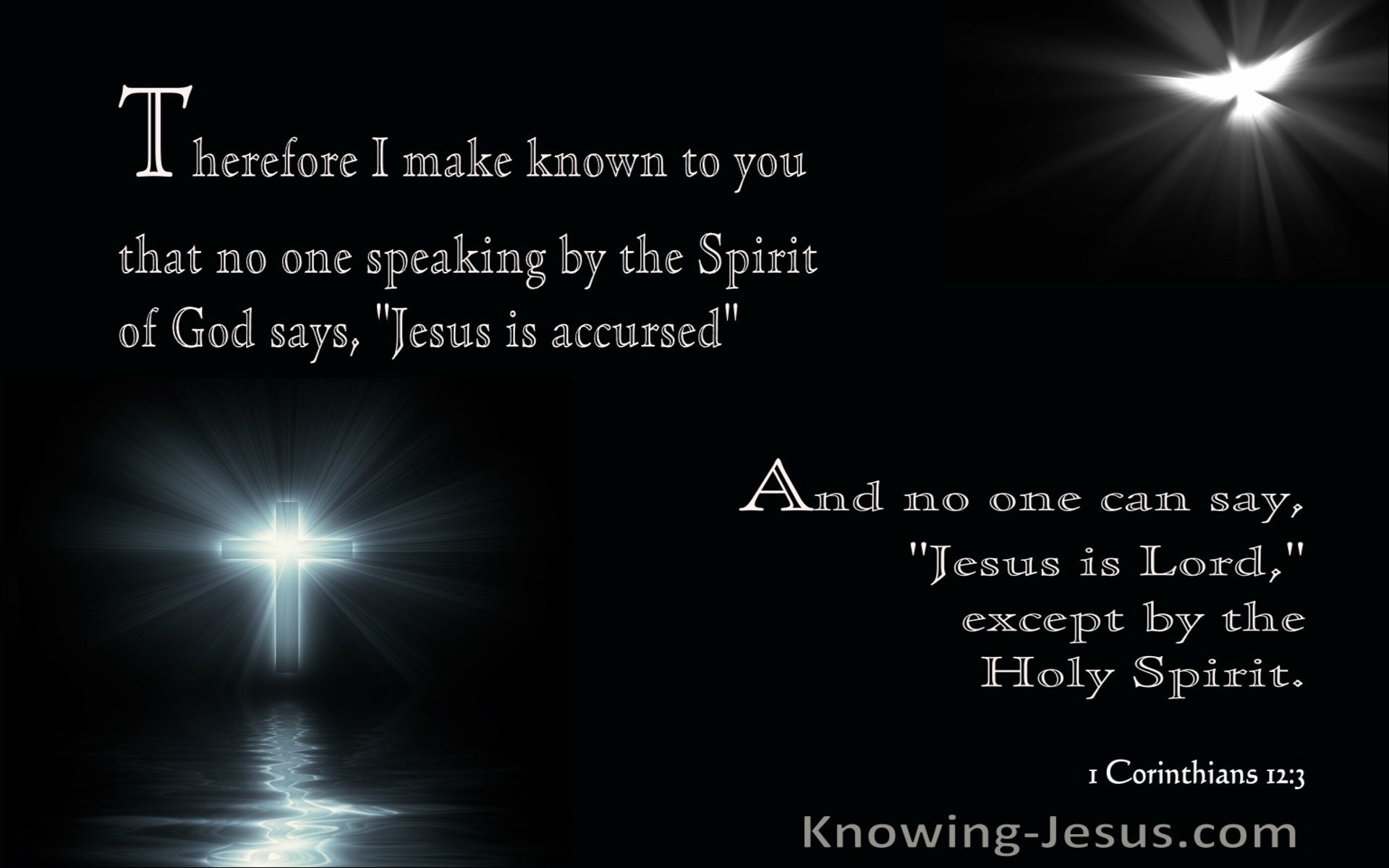 1 Corinthians 12:3 No One Can Say Jesus Is Lord Except Except By The Holy Spirit (gray)