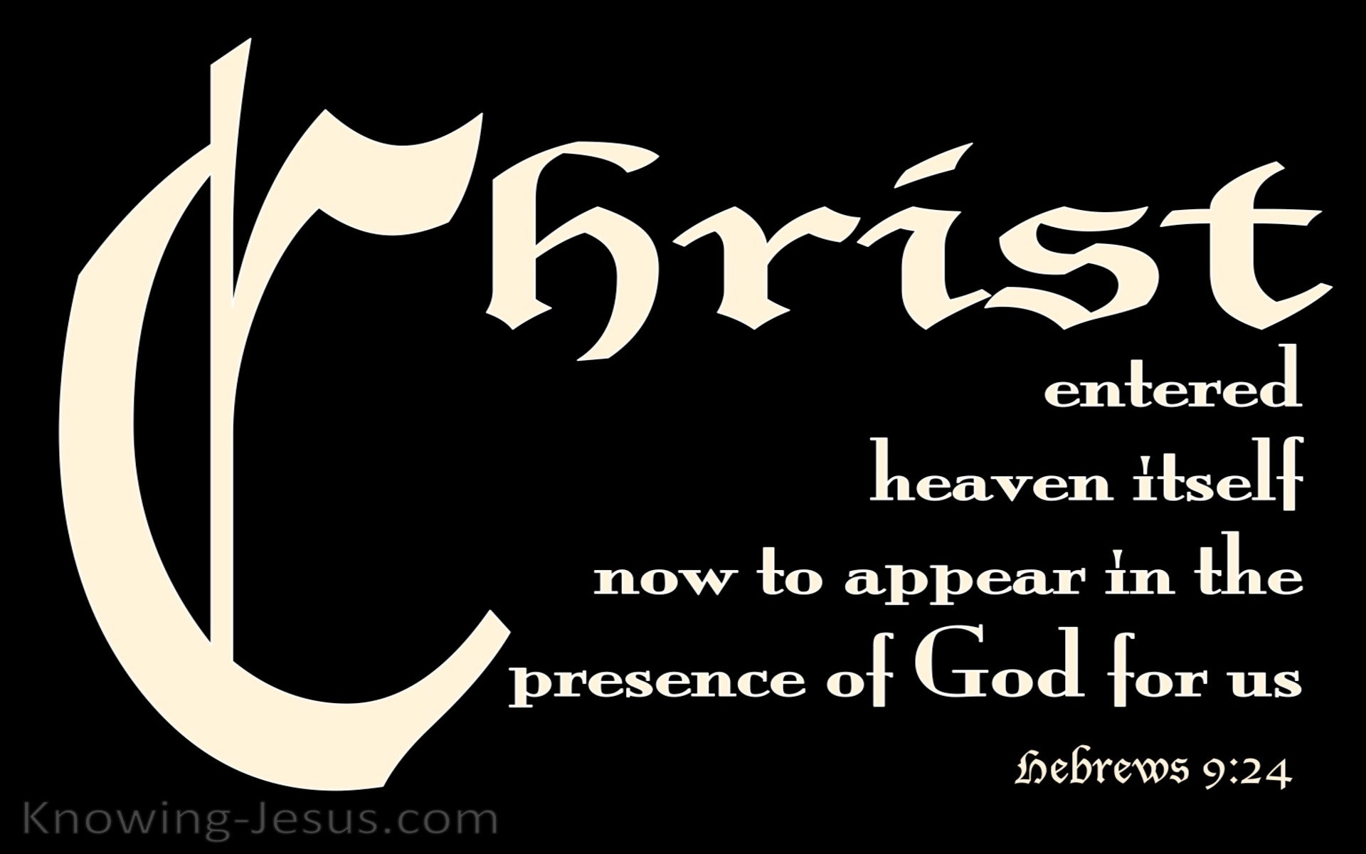 Hebrews 9:24 Christ Entered Heaven (black)