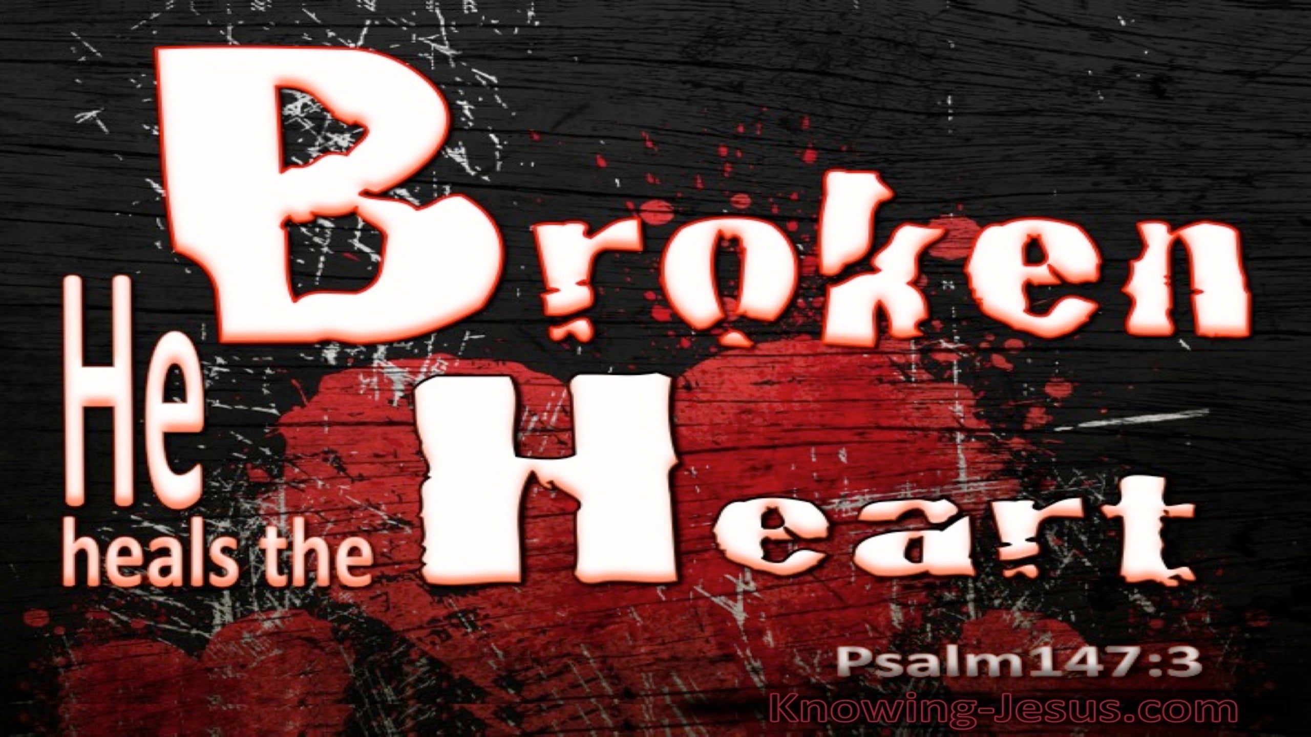 Psalm 147:3 He Heals The Broken Heart (black)