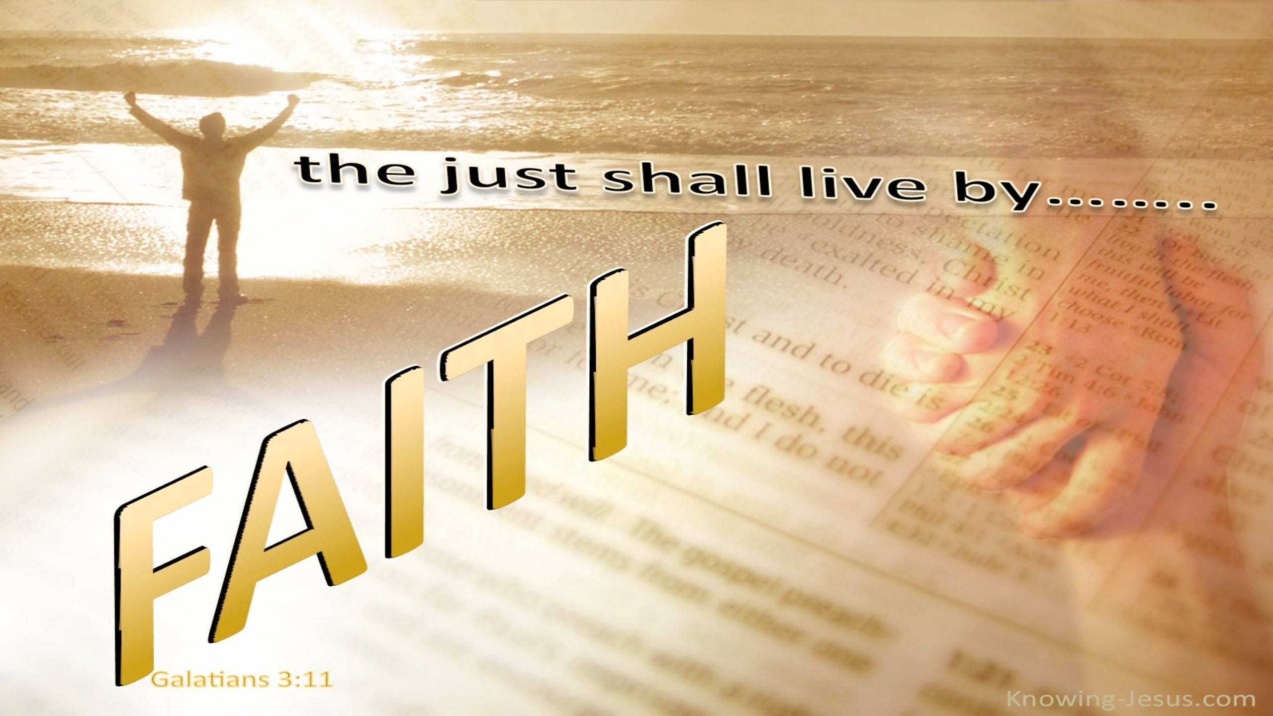 Galatians 3:11 The Just Shall Live By Faith (beige)