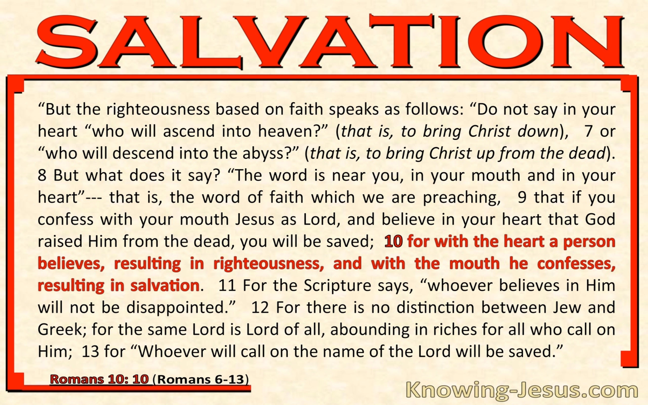 Romans 10:10 Righteousness and Salvation (pink)