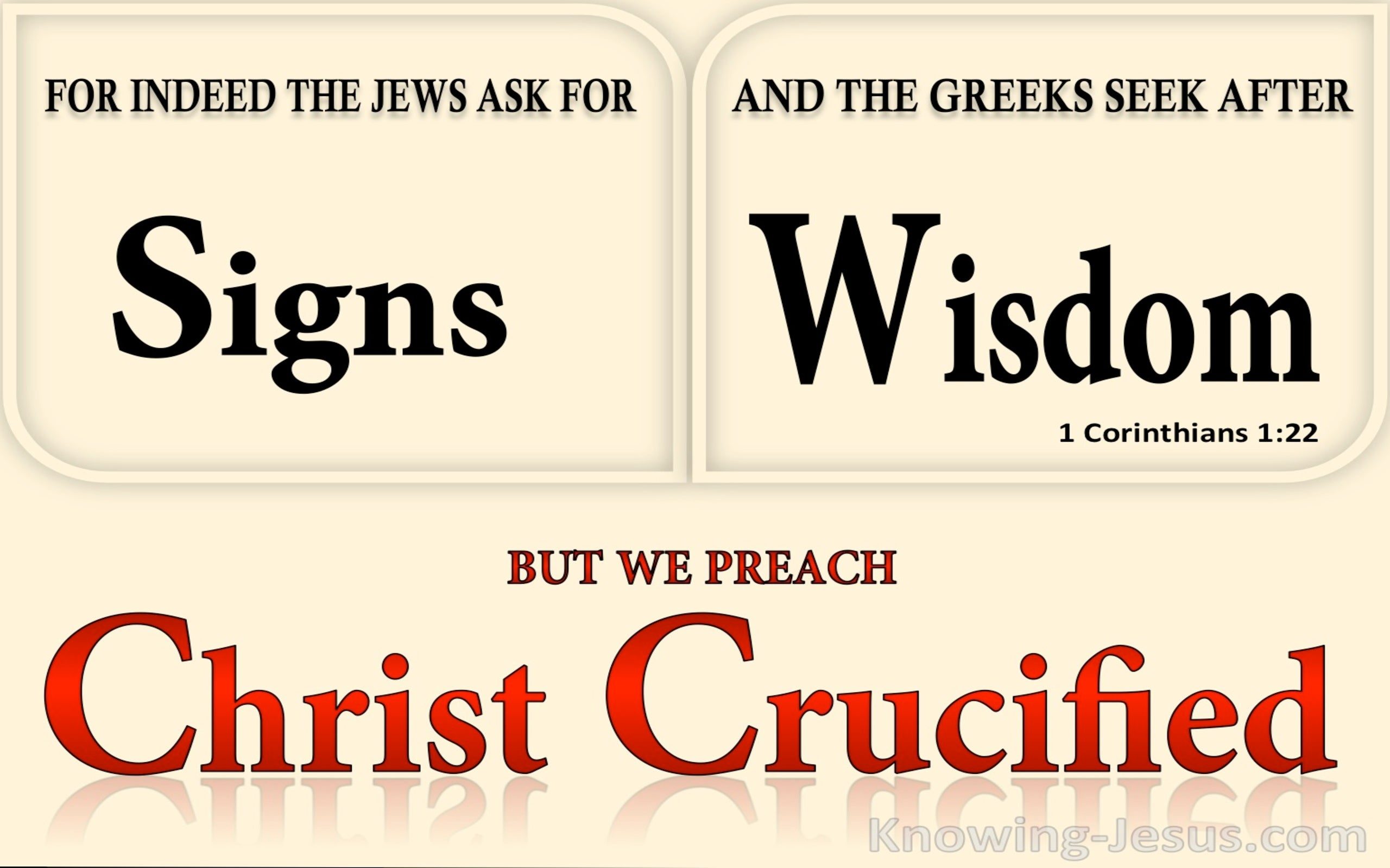 1 Corinthians 1:22 Jews Ask For Signs Gentiles Seek Wisdom (beige)