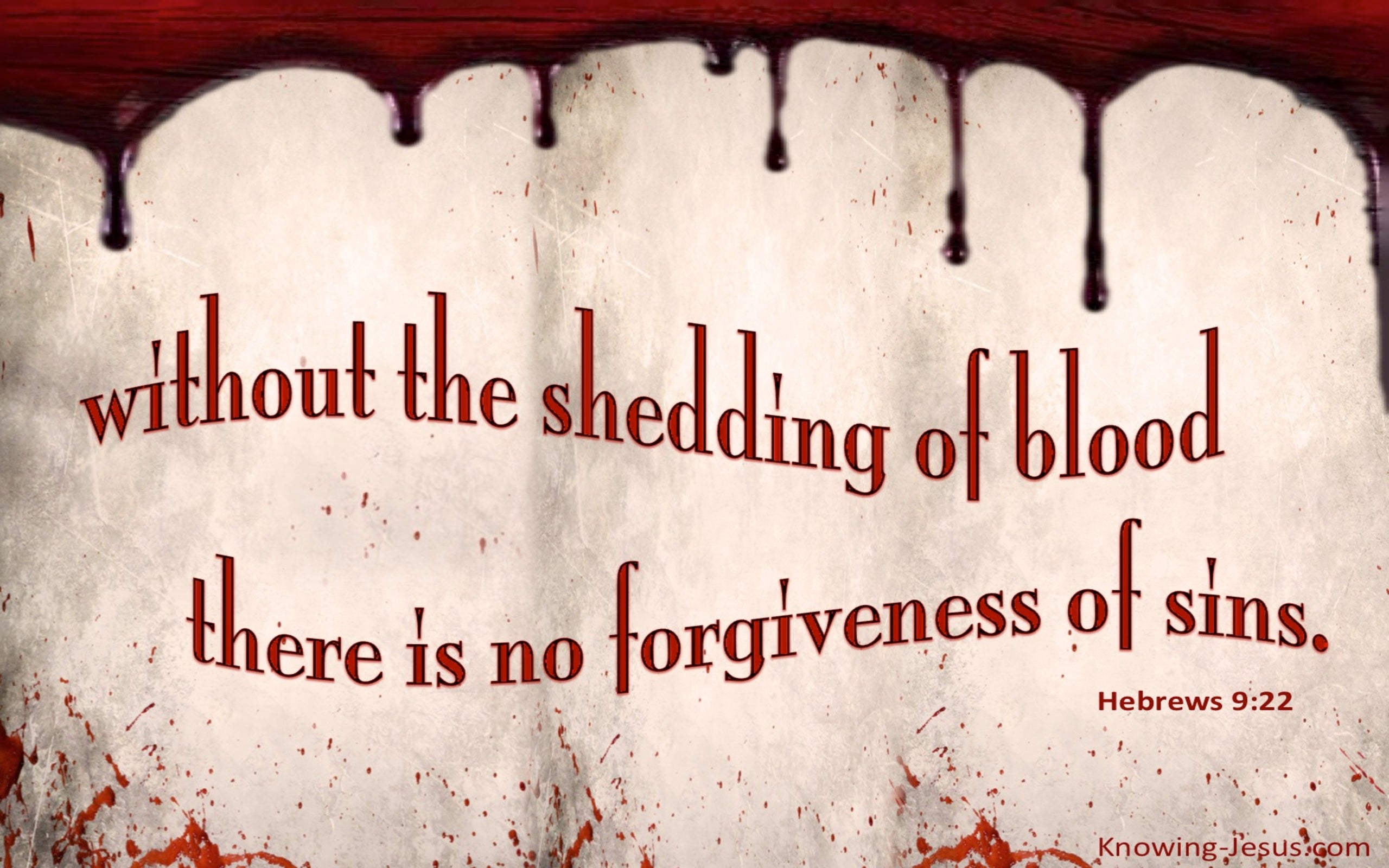 Hebrews 9:22 No Forgiveness Without The Shedding of Blood (beige)