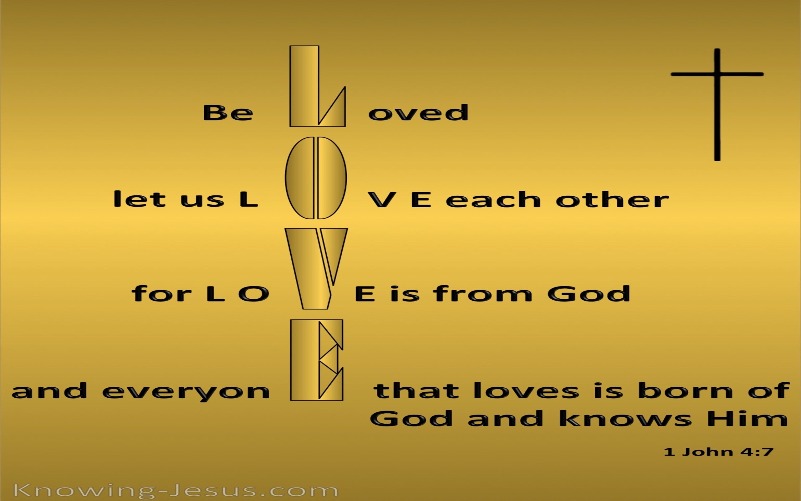 1 John 4:7 Beloved Let Us Love One Another (gold)
