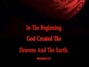 Genesis 1:1 In The Beginning God Created (red)