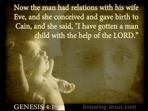 Genesis 4:1 Eve Conceived And Gave Birth To Cain beige