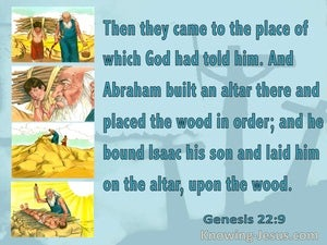 Genesis 22:9  They Came To The Place (aqua)