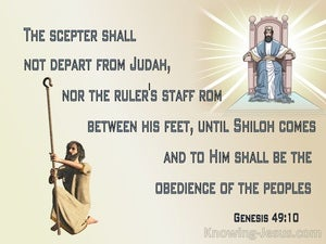 Genesis 49:10 The Scepter Shall Not Depart From Judah (blue)