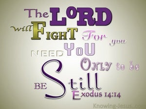 Exodus 14:14 The Lord Will Fight For You purple