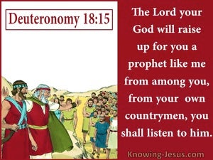 Deuteronomy 18:15 The Lord Will Raise Up A Prophet (red)