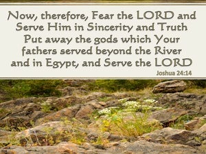 Joshua 24:14 Serve The Lord In Sincerity And Truth beige
