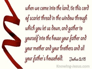 Joshua 2:18 Tie The Cord Of Scarlet In The Wondow And Gather Youself And Family Into The House (red)