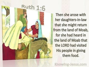Ruth 1:6 Naomi Hear God Had Come To The Aid Of His People (green)