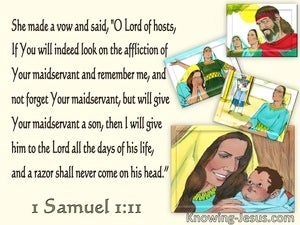 1 Samuel 1:11 Hannah Prayed Lord Remember Me (yellow)