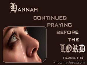 1 Samuel 1:12 She Continued Praying Before The Lord (brown)