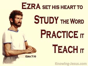 Ezra 7:10 Ezra Set His Heart To Study God's Law (yellow)