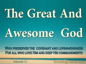 Nehemiah 1:5 THe Great And Awesome God (aqua)