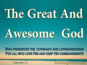 Nehemiah 1:5 The Great And Awesome God (aqua)