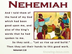 Nehemiah 2:18 tHe Hand Of My God Had Been Good Upon Me (beige)