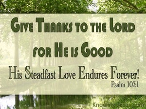 Psalm 107:1 Give Thanks To The Lord green