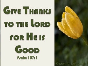 Psalm 107:1 Give Thanks To The Lord yellow