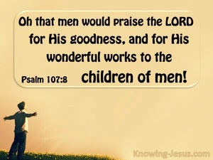 Psalm 107:8 O That Men Would Praise The Lord (brown)