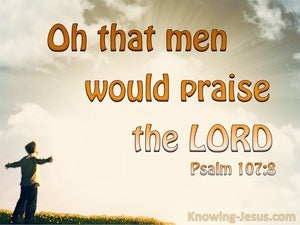 Psalm 107:8 O That Men Would Praise The Lord orange