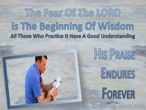 Psalm 111:10 The Fear Of The Lord Is The Beginning Of Wisdom (blue)