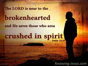 Psalm 34:18 The Lord Is Close To The Brokenhearted (red)