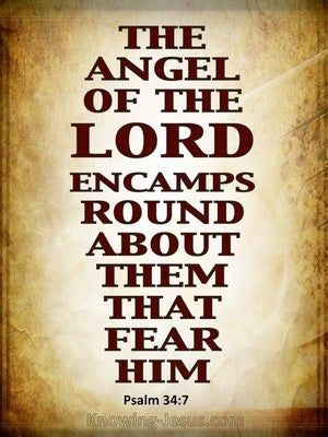 Psalm 34:7 The Angel Of The Lord Encamps beige