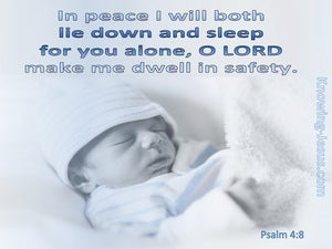 Psalm 4:8 The Lord Makes Me Dwell In Safety blue