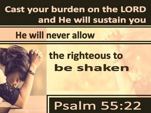 Psalm 55:22 Cast All Your Burdens On Him (orange)