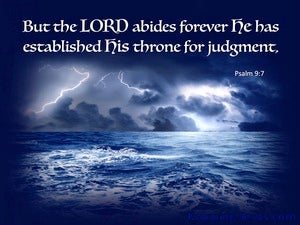 Psalm 9:7 The Lord Established His Throne For Judgement blue
