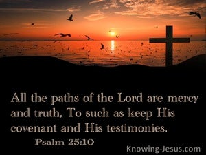 Psalm 25:10 All The Paths Of The Lord Are Mercy  And Truth (black)