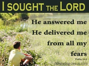 Psalm 34:4 He Delivered Me From My Fears (green)