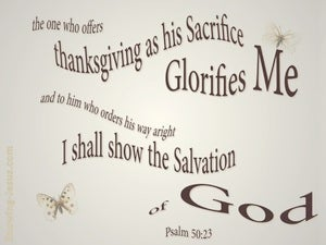 Psalm 50:23 Sacrifice Of Thanksgiving (beige)