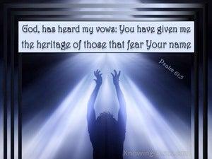 Psalm 61:5 God Has Heard My Vows (blue)