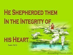 Psalm 78:72 He Shepherded Them in Integrity (green)