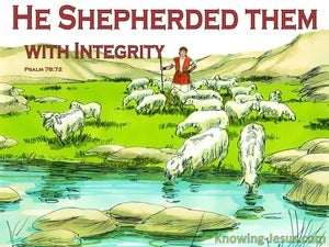 Psalm 78:72 He Shepherded Them in Integrity (red)