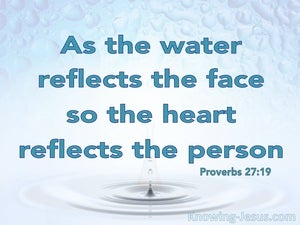 Proverbs 27:19 As The Water Reflects The Face (aqua)