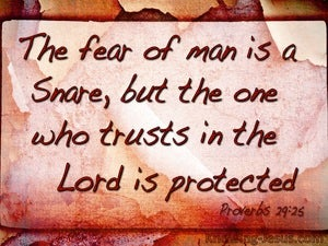 Proverbs 29:25 Fear Of Man Is A Snare (brown)