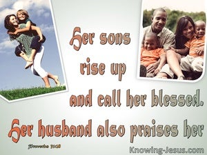 Proverbs 31:28 Her Sons Rise Up And Call Her Blessed (orange)