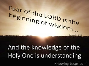 Proverbs 9:10 The Fear Of The Lord Is Wisdom (brown)