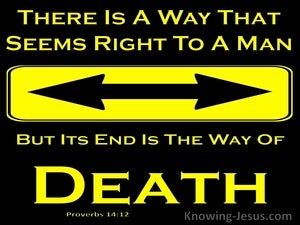 Proverbs 14:12 There Is A Way That Seems Right To Man But The End Is Death (yellow)