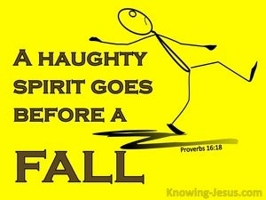Proverbs 16:18 A Haughty Spirit Goes Before A Fall (yellow)