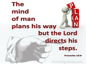 Proverbs 16:9 The Mind Of Man Plans His Way (red)