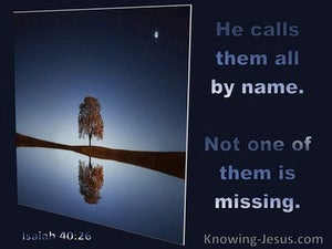 Isaiah 40:26 He Calls Them All By Name Not One Is Missing (blue)
