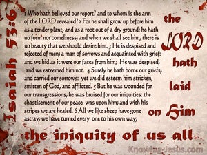 Isaiah 53:6 The Lord Laid On Him Our Iniquity (beige)