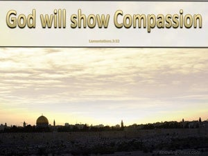 Lamentations 3:32 God Will Show Compassion (gold)