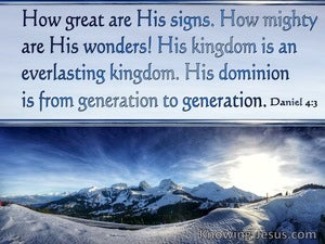 Daniel 4:3 How Great Are His Signs (blue)
